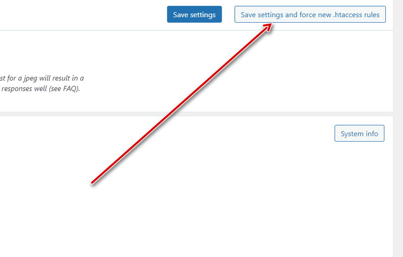 Save settings and force new .htaccess rules